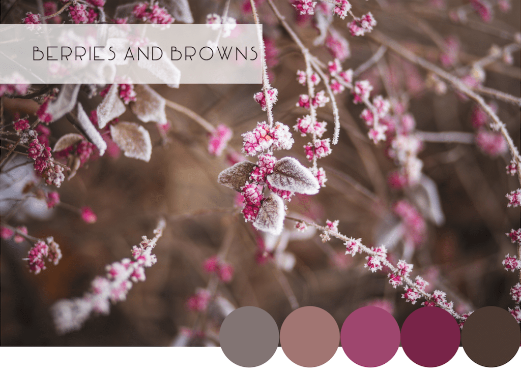Interior Design Winter Color Combinations: Frosted Berries and Browns