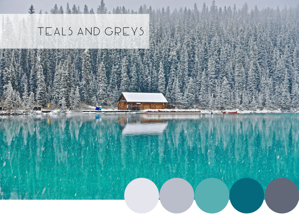 Interior Design Winter Color Combinations: Teals and Greys