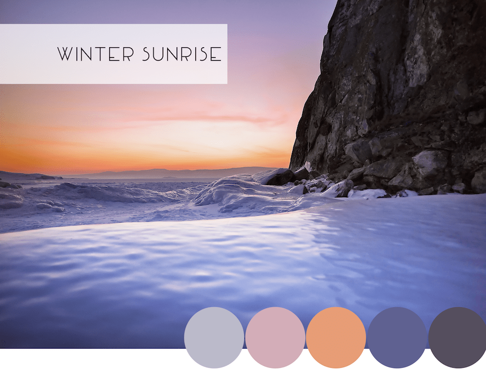 Interior Design Winter Color Combinations: Winter Sunrise Purples, Icy Blues, and Orange