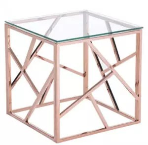 Rose Gold Accent Side Table