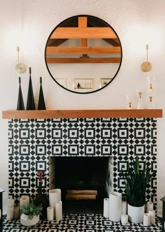 Modern High Contrast Fireplace - Catherine French Design