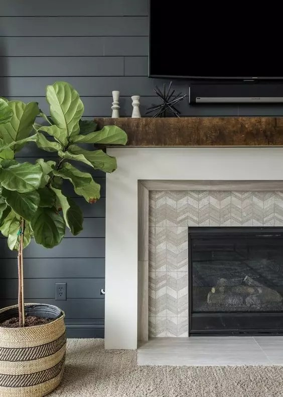 Chevron Tile Fireplace Surround - Catherine French Design