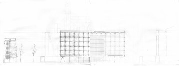 Beineke Library, Elevation/Section/Site (Freehand, collaboration with 2 others)