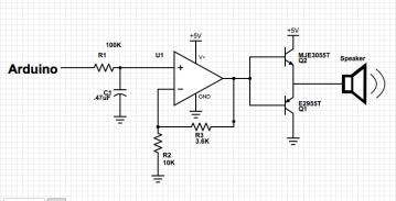 Circuit diagram showing speaker control.
