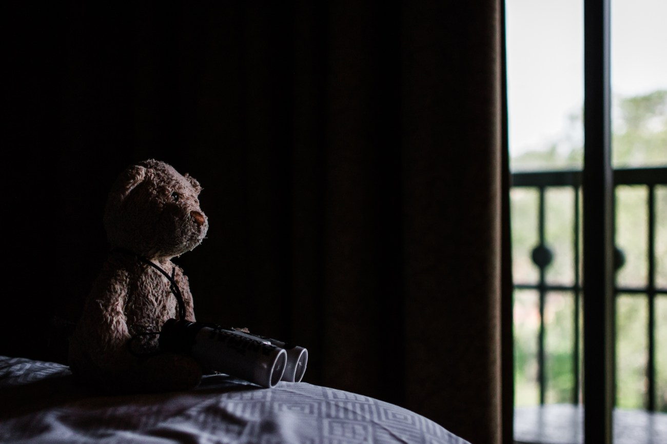 teddy bear with binoculars disney animal kingdom lodge {san diego lifestyle newborn baby child family photographer}