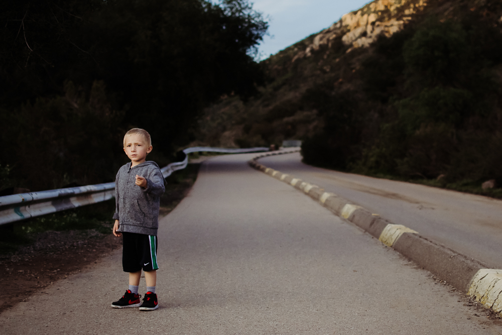 boy in road hiking mission trails san diego {virginia beach lifestyle newborn child couples family engagement photographer}