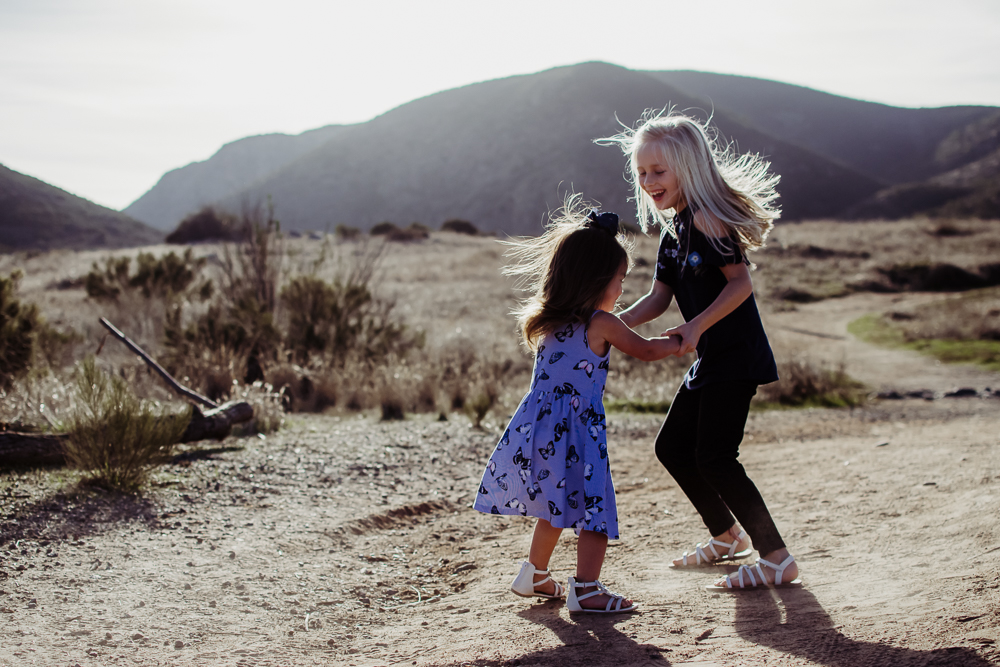baby and big sister playing exploring mission trails {san diego newborn baby child family lifestyle photographer}