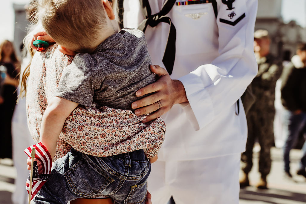 mother and son welcoming home navy husband 32nd street naval base {san diego lifestyle child couples family military homecoming photographer}
