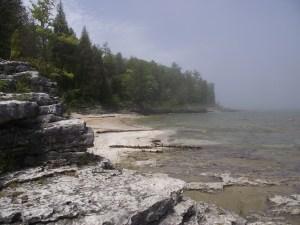 Beach and shoreline with limestone