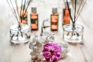 Infuser scent bottles and flowers