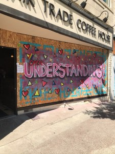 Art on plywood that says: Understanding