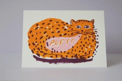 Purring Cat - Screen Printed Card