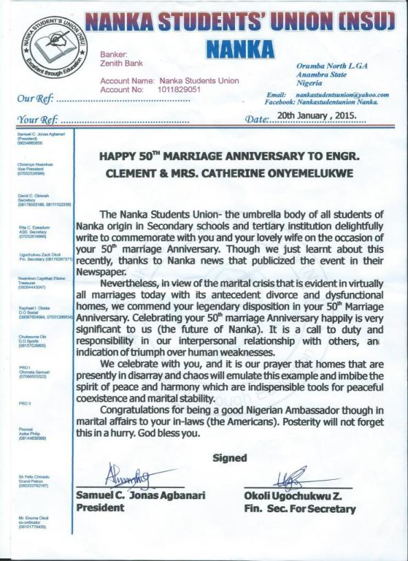 Anniversary Greeting from Nanka Students' Union