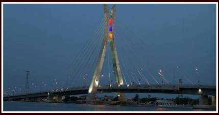 Lekki - Ikoyi Bridge which Sam drives over regularly.