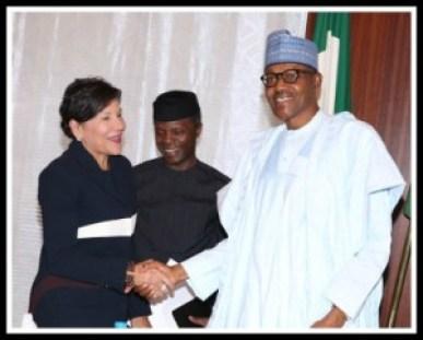 President Buharii and US Secretary of Commerce Penny Prtizker in Abuja