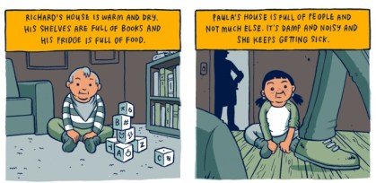 Two panels from Toby Morris' comic strip on privilege