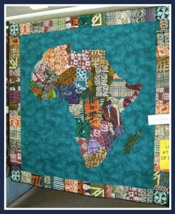 A display of small quilts accompanied Singing Cities concert