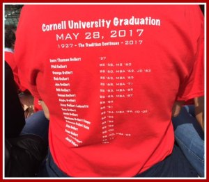 The Gellerts were proud to advertise their legacy of family members who had graduated from Cornell.