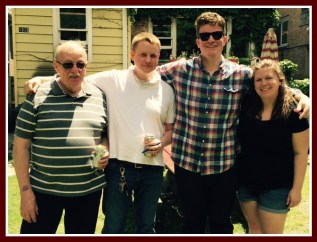 Left to right - brother Peter, nephews Tim and Charlie, Charlie's fiancee Courtney