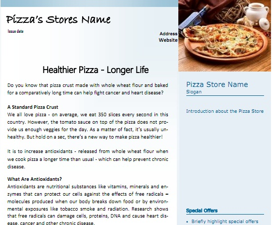Pizza customers newsletter