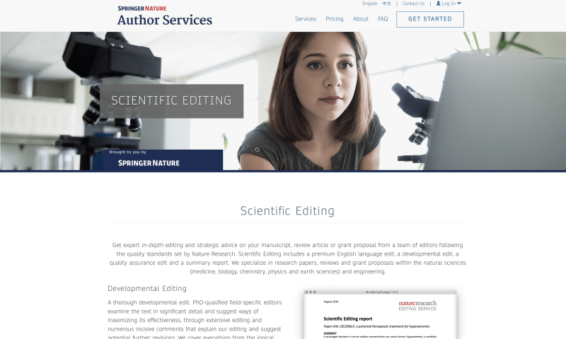 Screenshot of SpringerNature Editing Services homepage