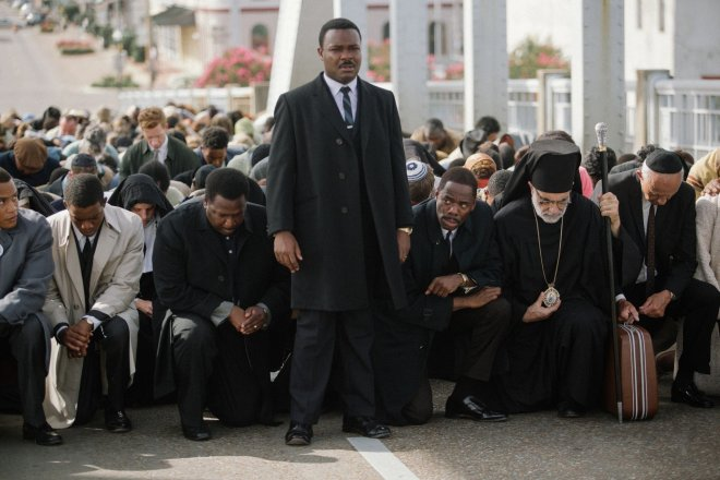 "David Oyelowo (center) as the Rev. Dr. Martin Luther King in ""Selma."""