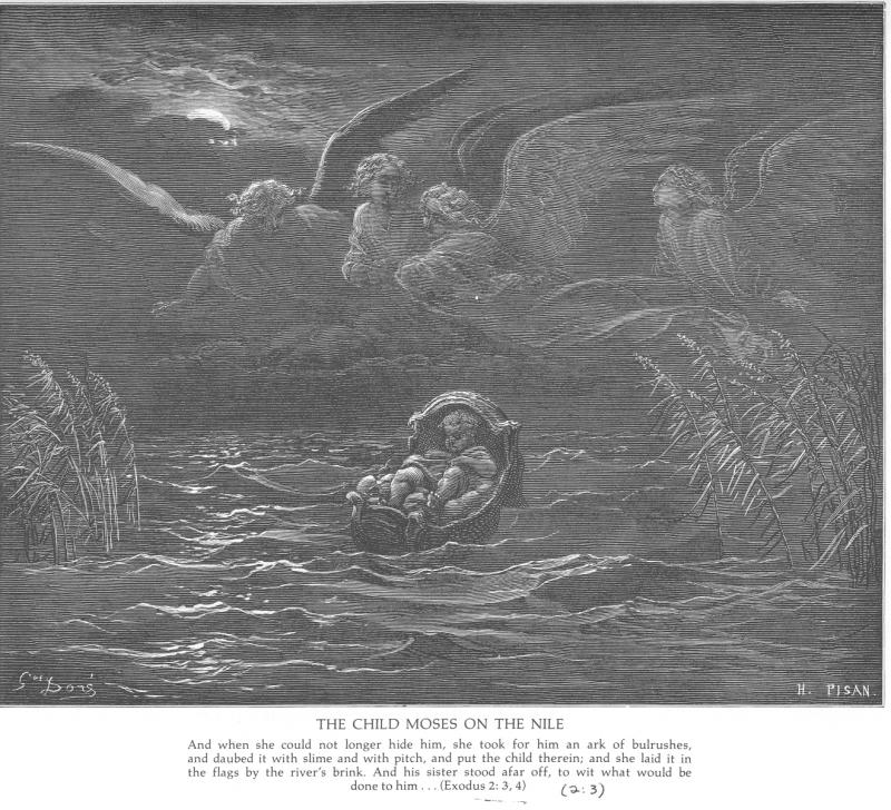 Gustave Doré, The child Moses on the Nile