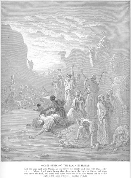 Gustave Doré, Moses striking the rock in Horeb