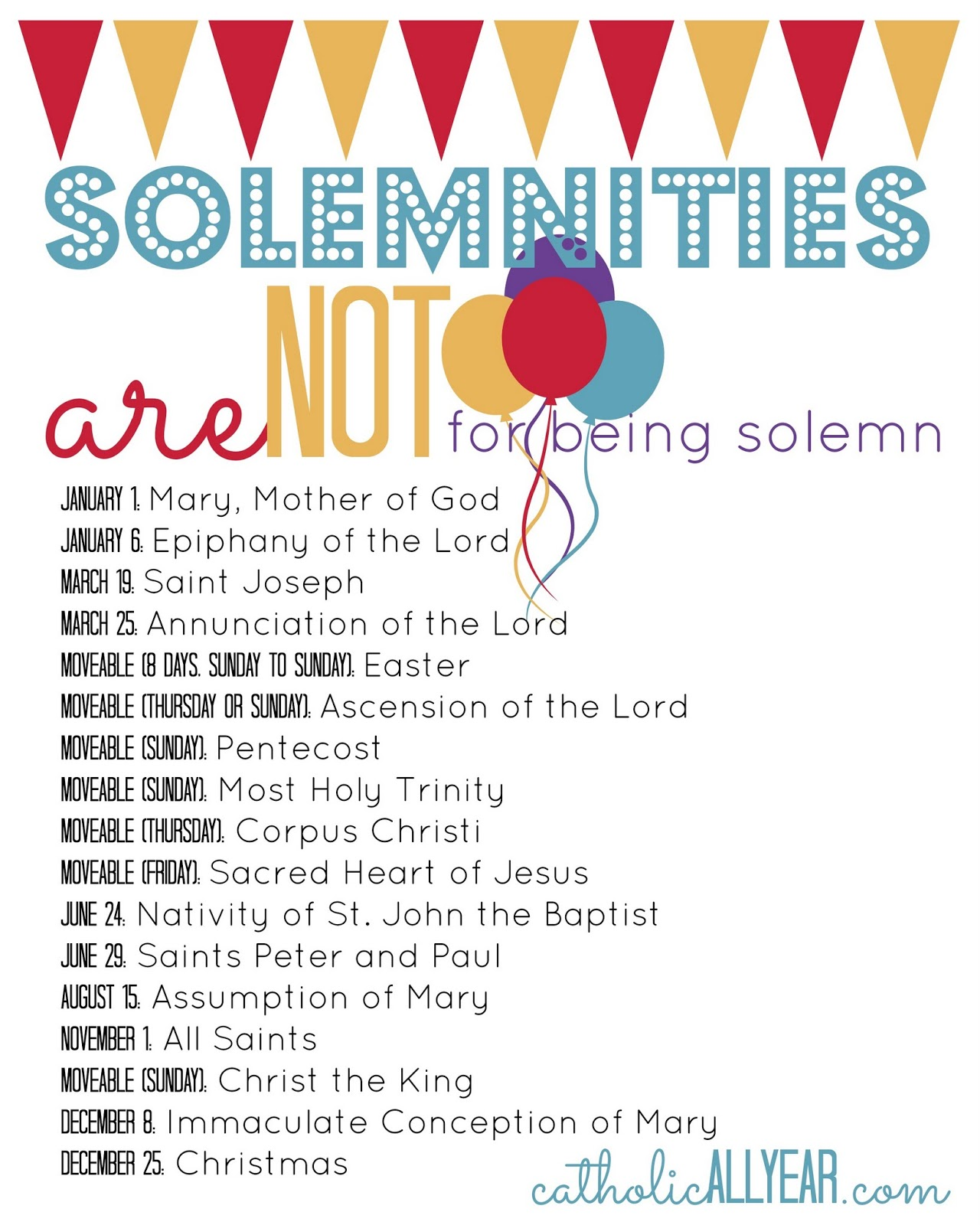 Solemnities Are Not For Being Solemn What They Are Why They Matter And New Free Printables