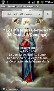 Screenshot from Spanish Holy Rosary app
