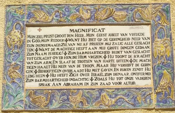 One of the many plaques with the text of the Magnificat, this one in Dutch, in the Church of the Visitation.