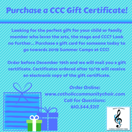 Purchase a CCC Gift Certificate!