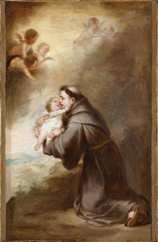 Bartolome_Esteban_Murillo_-_'The_vision_of_Saint_Anthony_of_Padua'._61_x_39.7_cm public domain image
