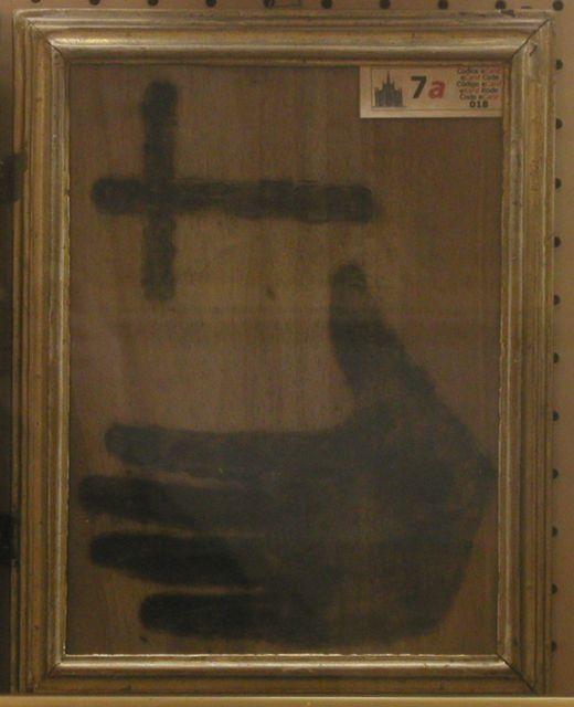 Fr. Panzini's Handprint and Cross