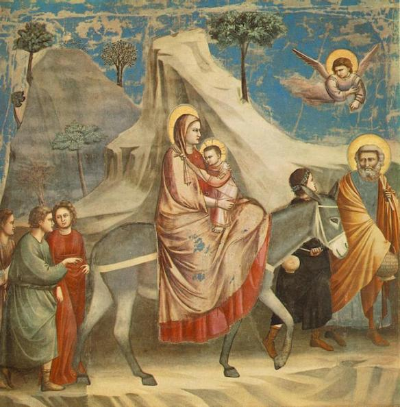 The Flight into Egypt, by Giotto (details)