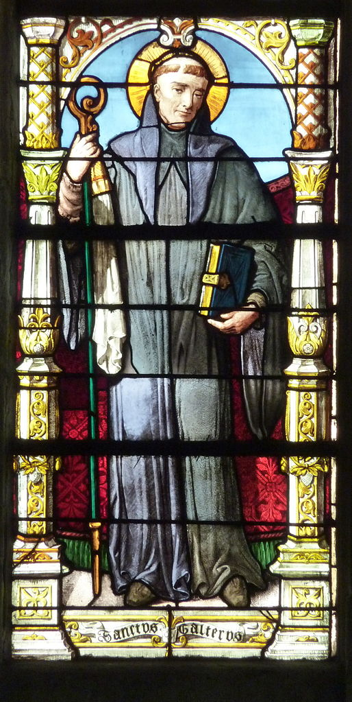 Saint Walter of Pontoise, stained glass from Saint-Maclou Cathedral in Pontoise, photo by GFreihalter (details)