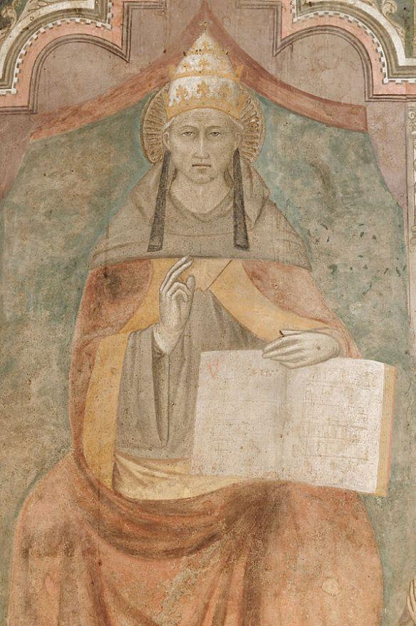 Saint Peter Celestine V, fresco in Castello di Casaluce, Campania (details)