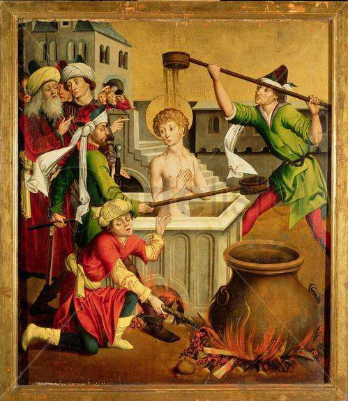 Martyrdom of Saint John the Evangelist by Master of the Winkler Epitaph (details/source)
