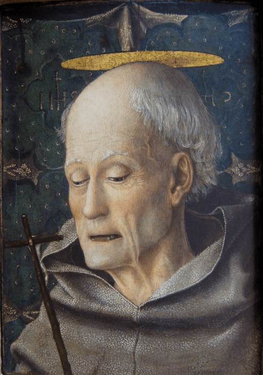 Saint Bernardino of Siena by Jacopo Bellini, c. 1450-55, tempera and gold on wood, private collection (details)