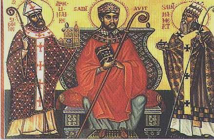 Saint Mamertus (right), pictured with Saints Avitus and Apollinaris (details)