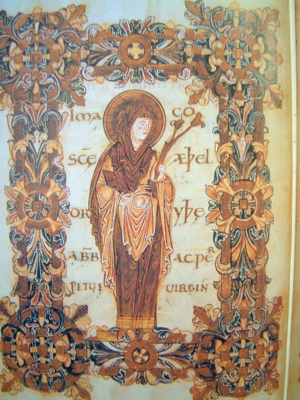 Saint Æthelthryth (Audrey, Etheldreda) from Benedictional of St. Æthelwold, 10 C British Library (source)