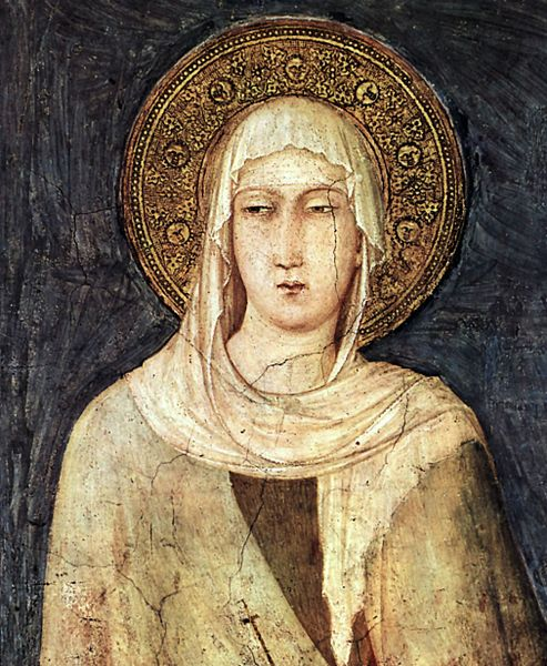 Detail depicting Saint Clare from a fresco (1312–20) by Simone Martini in the Lower basilica of San Francesco, Assisi (source)