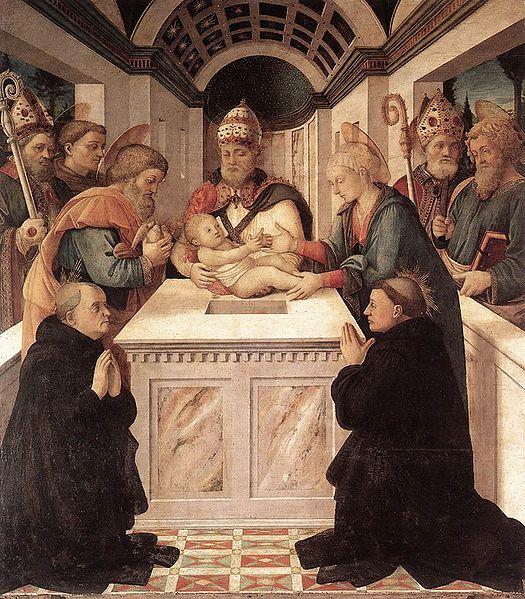 """Filippo Lippi, """"The Presentation in the Temple,"""" with St Philip Benizi on the left and St. Pellegrino Laziosi (Latiosi) on the right (source)"""
