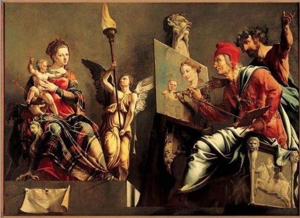 Luke paints the Madonna and the Baby Jesus, by Maarten van Heemskerck (source)
