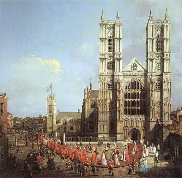 Westminster Abbey with a procession of Knights of the Bath, by Canaletto, 1749 (source)