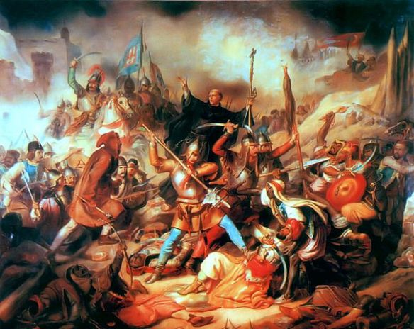 Battle of Nándorfehérvár, Hungarian painting from the 19th century. In the middle Giovanni da Capistrano with the cross in his hand (source)