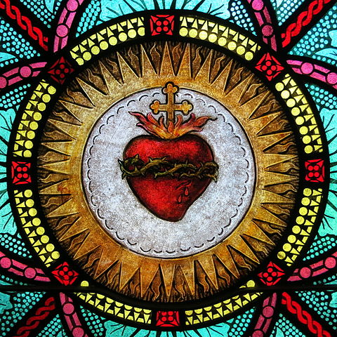 All Saints Catholic Church (St. Peters, Missouri) - stained glass, sacristy, Sacred Heart detail, photo by Nheyob (source)