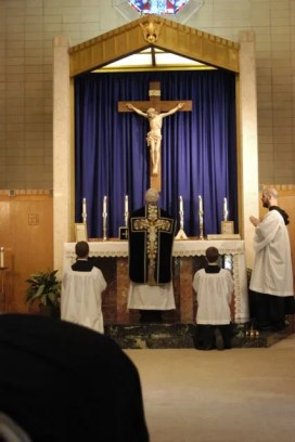Father Daniel O. Lamothe is the Celebrant. Brother André Marie is M.C.