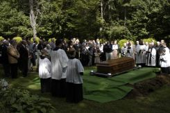 It was a beautiful day for the mourners to assemble on our wooded property.