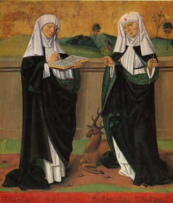 St. Catherine of Sweden (right) and her Mother, St. Bridget of Sweden (left). Painting from the Högsby church in Smalandia.